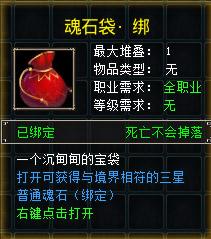 一个沉甸甸的宝袋。打开可获得与境界相符的三星普通魂石(绑定)。